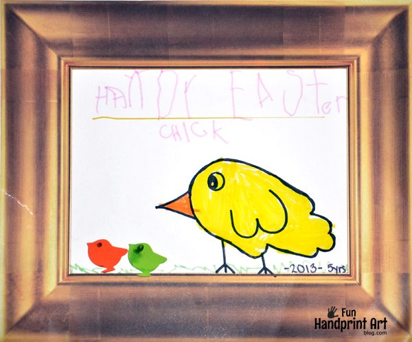 "Kids Traced Hand Drawing: Chick Craft with the words ""Hand-y Little Chick"" written on i"
