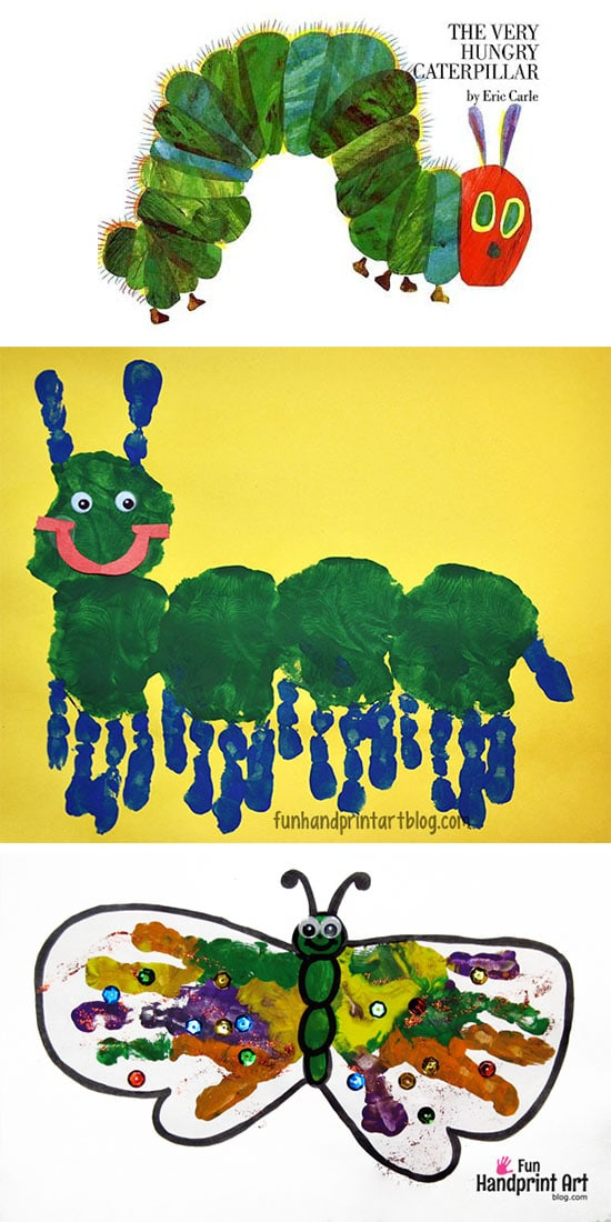 Handprint Caterpillar Preschool Craft Fun Handprint Art