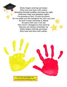 Preschool Graduation Handprint Poem Keepsake