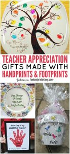 DIY Teacher Appreciation Gifts made with handprints & fingerprints
