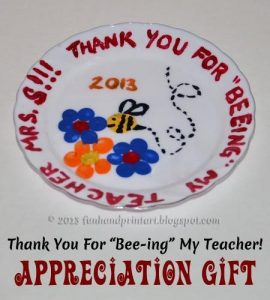 Thank You for BEE-ing My Teacher Fingerprint Plate Keepsake for Teacher Appreciation Week