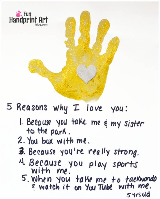 Reason Why I Love You Fathers Day Handprint Keepsake Fun
