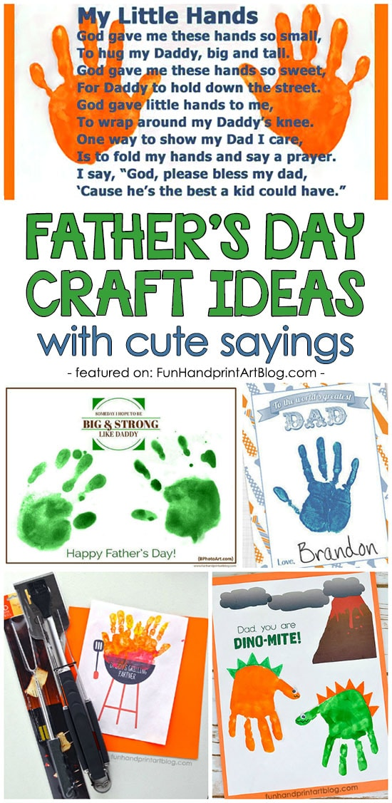 Father's Day Handprint & Footprint Keepsakes with Poems and Sayings About Dads