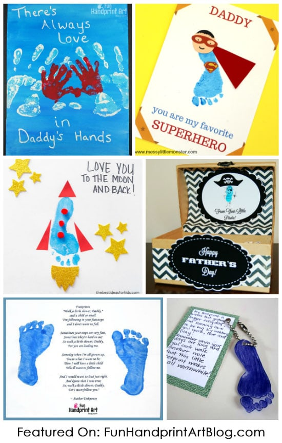 Fun Collection of Father's Day Handprint & Footprint Crafts with Fun Sayings & Cute Poems About Dads