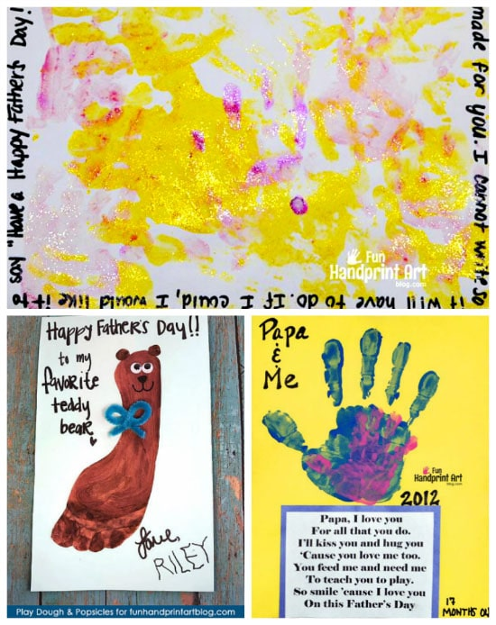 14 Father's Day Crafts made with little hands and feet featuring cute poems!