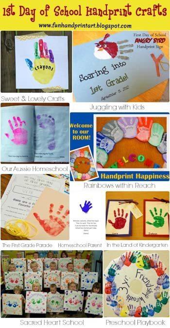 1st Day of School Handprint Crafts