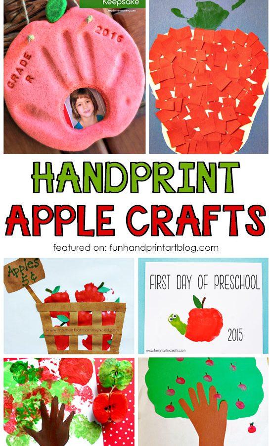 Fall Handprint and Fingerprint Apple Craft for Kids