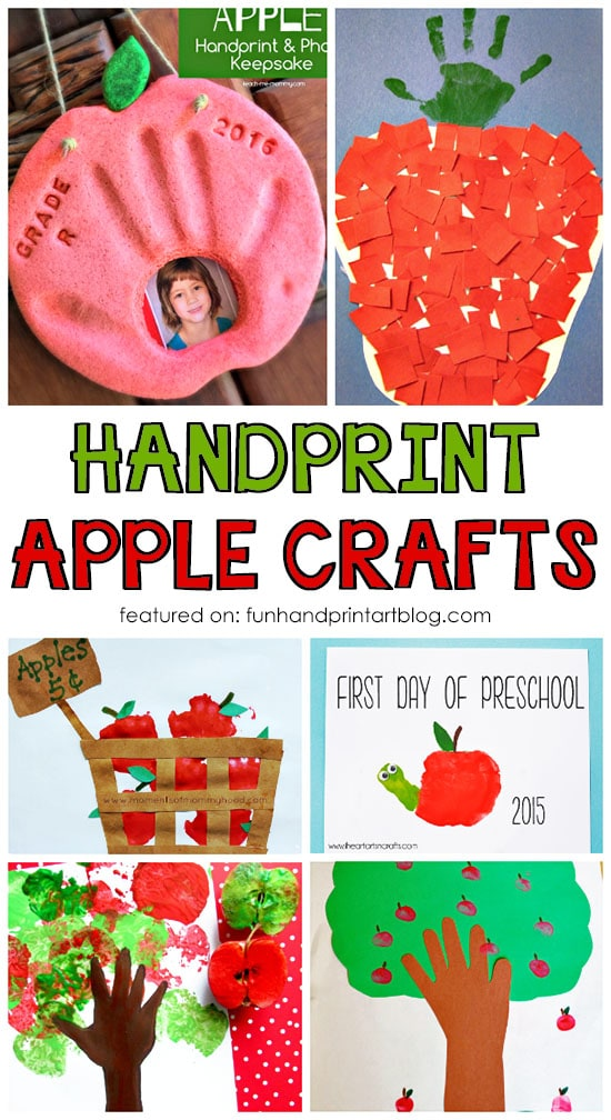 Handprint And Fingerprint Apple Crafts Johnny Appleseed Day Theme