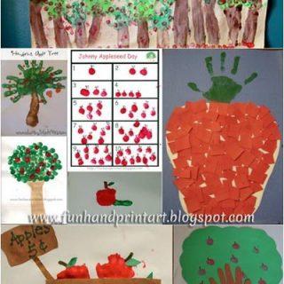 Handprint & Fingerprint Apple Crafts {Johnny Appleseed Day}