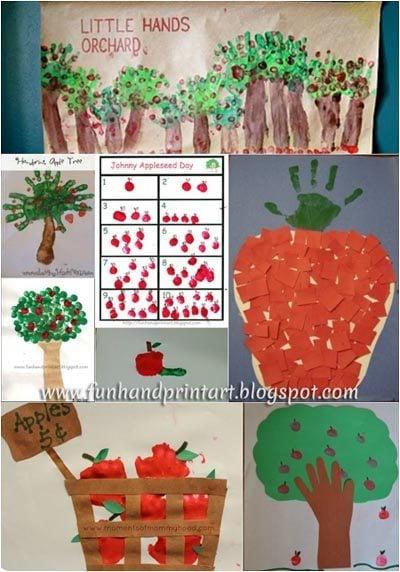 Johnny Appleseed Day - Handprint & FIngerprint Apple Crafts
