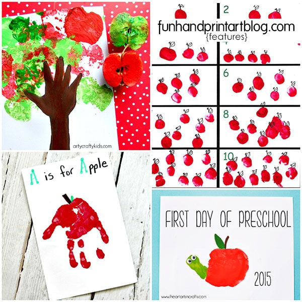 List of creative Handprint and Fingerprint Apple Crafts to make for Johnny Appleseed Day, a letter of the week A craft, or fall theme.
