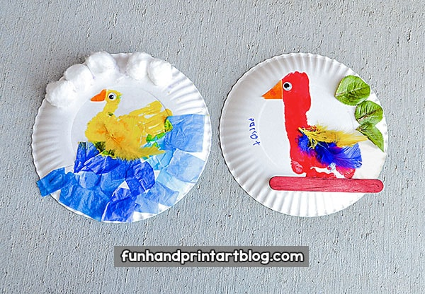 Paper Plate Bird Crafts For Preschoolers u0026 Kindergartners & Creative Footprint Parrot And Hand Print Duck - Paper Plate Bird Crafts