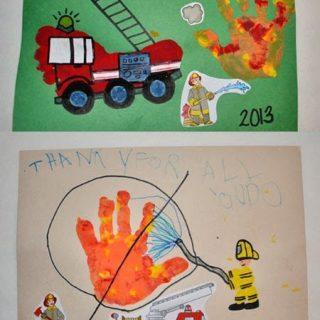 Footprint Firetruck & Handprint Fire Thank You to the Firefighters