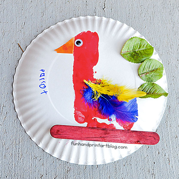 Cute Footprint Parrot Paper Plate Craft Idea Using Feathers And Leaves