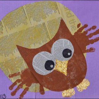 Handprint Owl Newspaper Art