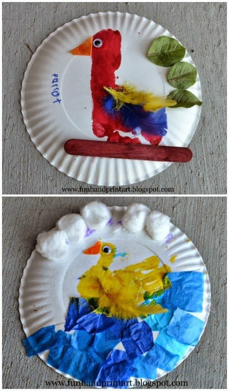 Handprint Duck & Footprint Parrot Craft