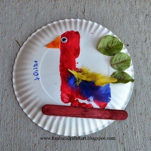 Footprint Parrot paper plate craft & Footprint Parrot \u0026 Handprint Duck Paper Plate Craft - Fun Handprint Art