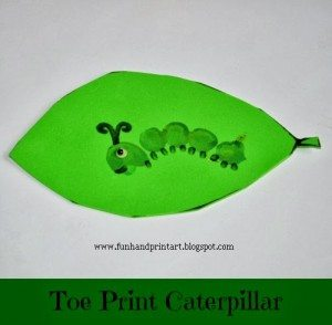 Toe Print Caterpillar Craft #EEKologist