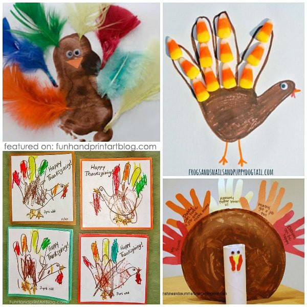 20 Footprint and Handprint Thanksgiving Turkey Crafts