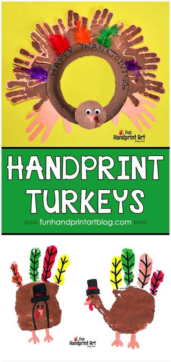 Handprint Turkey Thanksgiving Wreath Craft & Pilgrim Turkey Prints