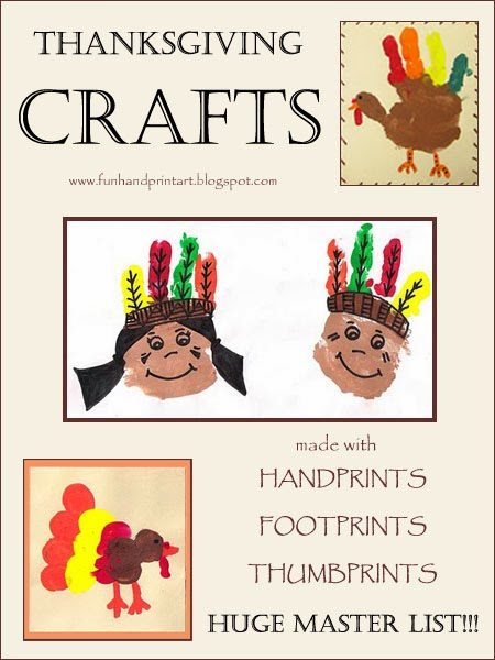 Huge list of Thanksgiving Handprint Crafts for kids