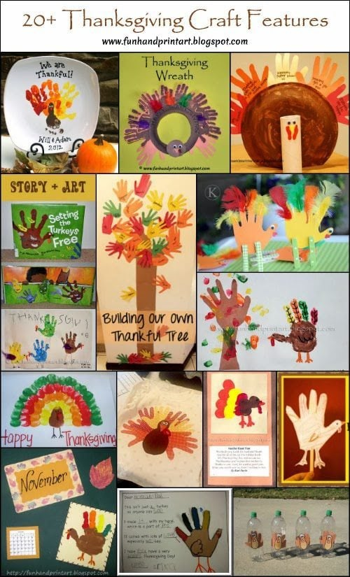Kids Thanksgiving Crafts made with Handprints & Footprints