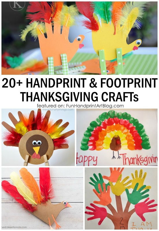 20 ways to make a turkey craft using handprints and footprints - Thanksgiving Activities