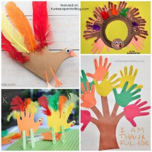 20+ Cute Turkey Crafts made with handprints & footprints