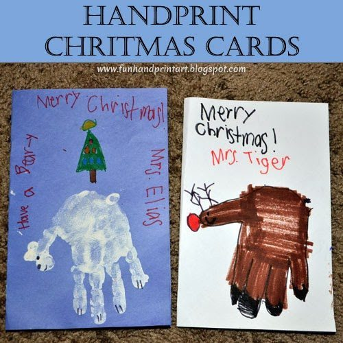 Handprint Christmas Cards for Teachers: Cute Polar Bear & a Hand Shaped Rudolph Drawing