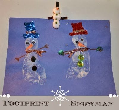 Sparkly Footprint Snowman Craft using Puffy Paint