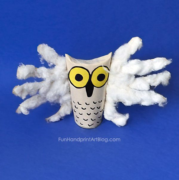 Snowy Owl Handprint Craft for Kids Using Cotton Balls