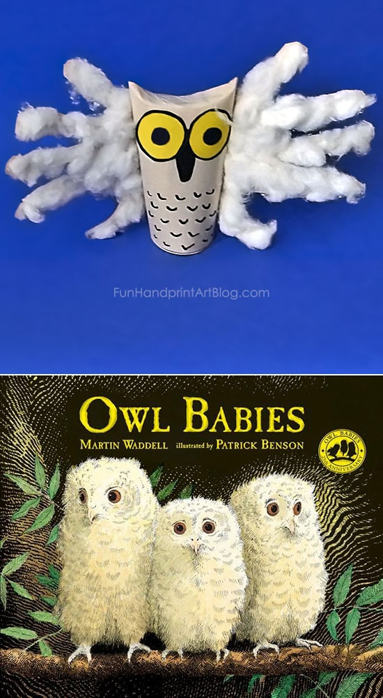 Read the Book Owl Babes & Make an Adorable, Fluffy Handprint Owl from a Cardboard Tube