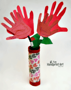 How to make paper Handprint Flowers in a Duct Tape Cardboard Tube Vase for Valentine's Day