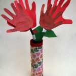 Handprint Flowers in a Duck Tape Vase