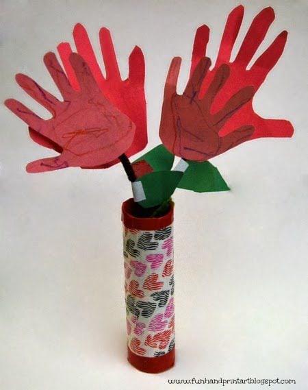 Handprint Flowers in a Vase Valentine's Day Duck Tape Craft