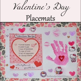Valentine's Day Handprint Placemat using Duck Tape