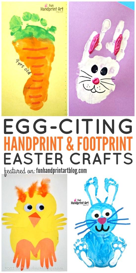 Huge List of Handprint and Footprint Easter Crafts to make with kids including bunnies, chicks, eggs, card idea, fingerprint art & more!
