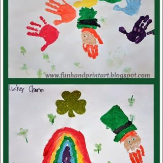 Handprint Rainbow and Leprechaun