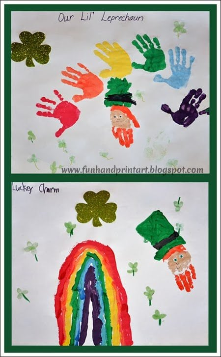 Handprint Rainbow and Leprechaun St Patrick's Day Craft