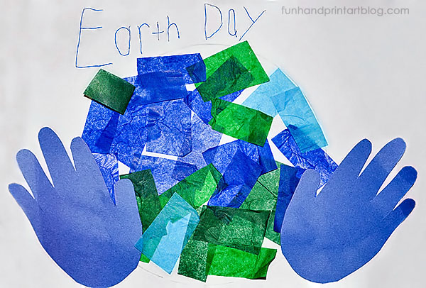 Tissue Paper Earth Hand Craft for Preschoolers & Kindergartners