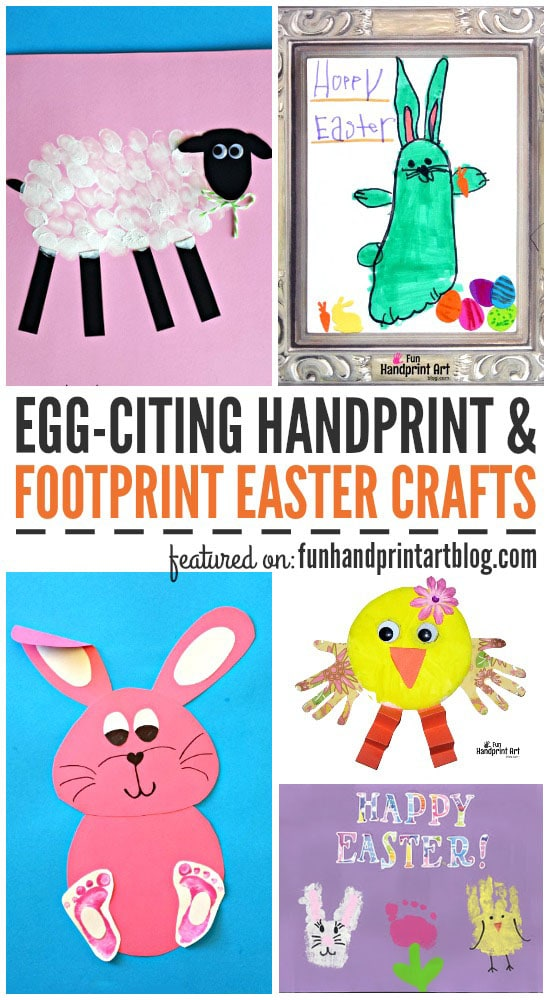 Huge List of Handprint and Footprint Easter Crafts to make with kids including bunnies, chicks, eggs, card idea, fingerprint art & more!