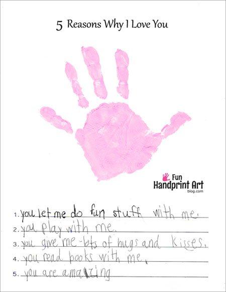 Reasons Why I Love You Handprint Craft - Free Printable
