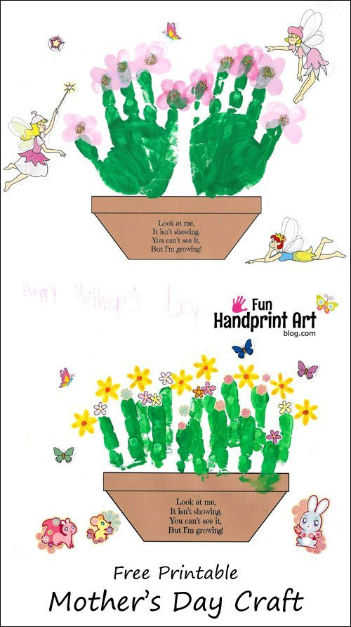 Free Printable Flower Pot Craft For Mother S Day Fun Handprint Art