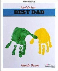 Hands Down World's Best Dad handprint craft & free printable