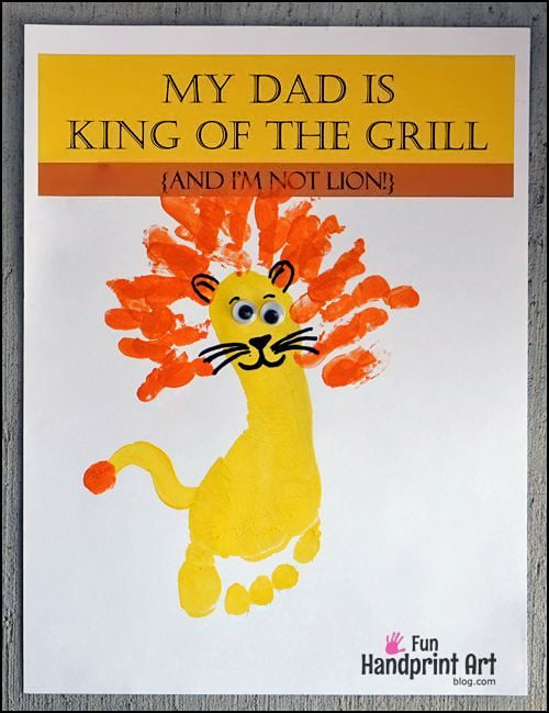 'My Dad is King of the Grill' Father's Day Printable - Footprint Lion