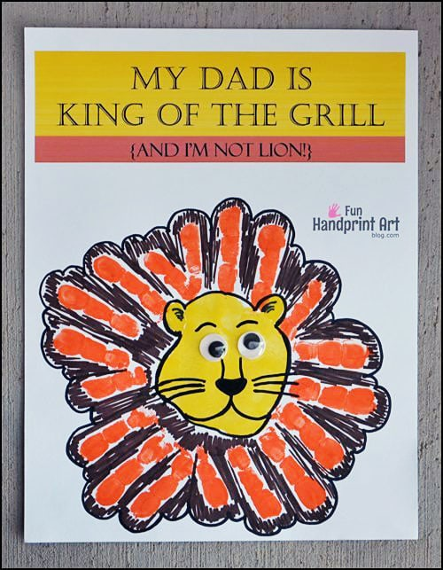 Printable Father's Day Handprint Craft: My Dad is King of the Grill.... and I'm not LION.