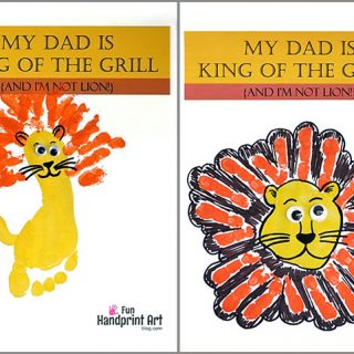 Father's Day Printable - Footprint or Handprint Lion Craft