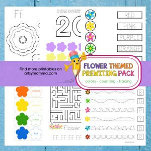 Preschool Flower Themed Prewriting Activities Printable Pack