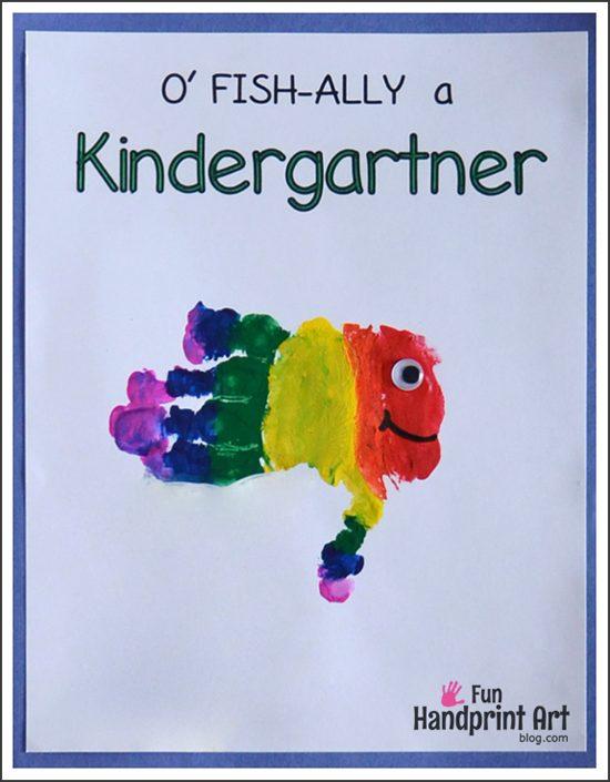 Free 1st Day of School Printables: O' FISH-ally a Kindergartner Handprint Keepsake