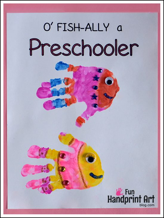 Handprint Fish Preschool - Printables for 1st Day of School